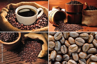 Fototapeta Collection of coffee cup and coffee beans