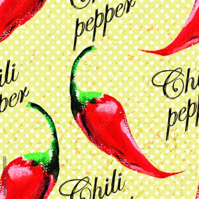 Fototapeta Chili pepper pattern on grunge background.