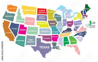 Fototapeta USA map with states