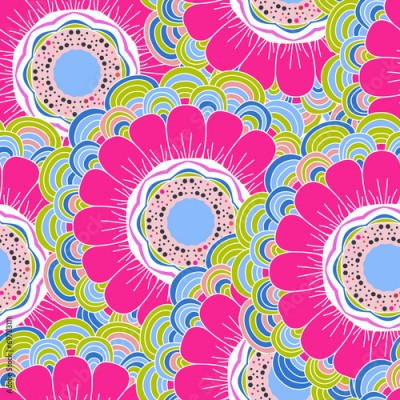 Obraz Vector seamless hand-drawn pattern with flowers and leaves