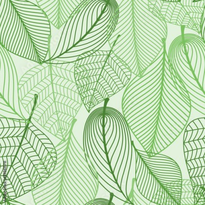 Obraz Green leaves seamless pattern background