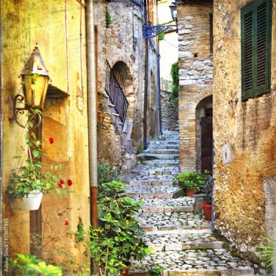 Panel Szklany charming old streets of mediterranean