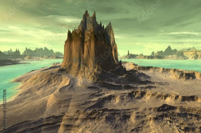 Plakat 3d rendered fantasy alien planet. Rock