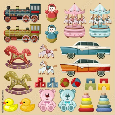 Obraz Set of toys. vector