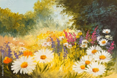 Obraz Oil Painting - field of daisies. colorfull art drawing