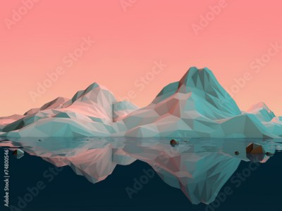 Fototapeta Low-Poly 3D Mountain Landscape with Water and Reflection