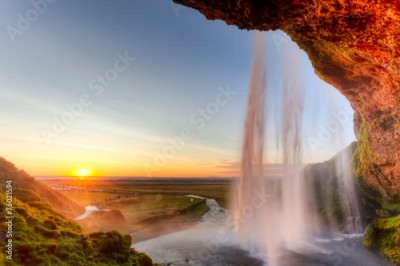 Obraz na Plexi Seljalandsfoss Waterfall at sunset, Iceland