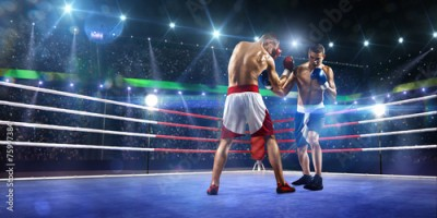 Fototapeta Two professionl boxers are fighting on arena