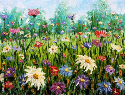Plakat Original oil painting of flowers Wildflowers.