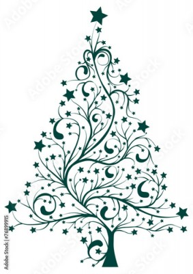 Naklejka Artistic decorated Christmas pine tree floral vector