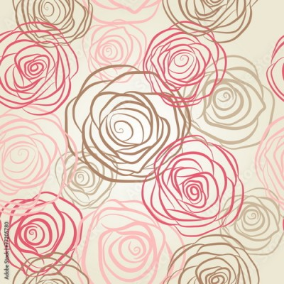 Fototapeta Seamless pattern with flowers roses vector