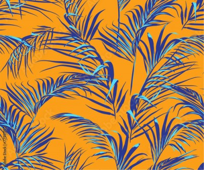 Obraz tropical palm leaves seamless pattern