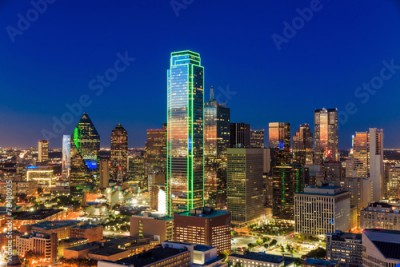 Fototapeta Dallas, Texas cityscape with blue sky at sunset