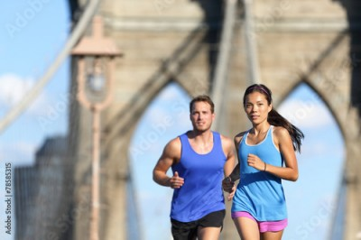 Fototapeta Urban runners running people in New York City NYC