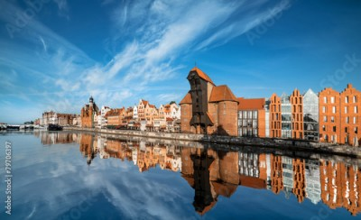 Fototapeta Cityscape of Gdansk, view across the river