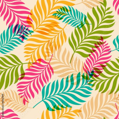Obraz Vector seamless pattern of colorful palm tree leaves. Nature org