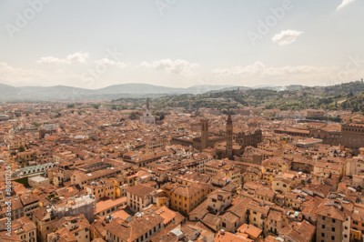 Fototapeta Aerial panorama of Florence Duomo dome and rooftops. Tuscany Ita