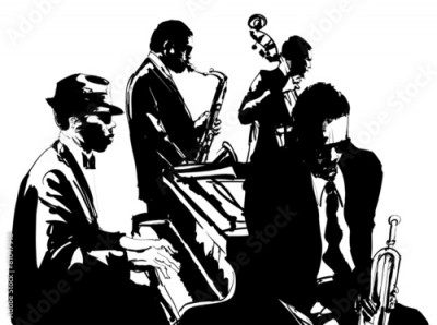 Fototapeta Jazz poster with saxophone, double-bass, piano and trumpet
