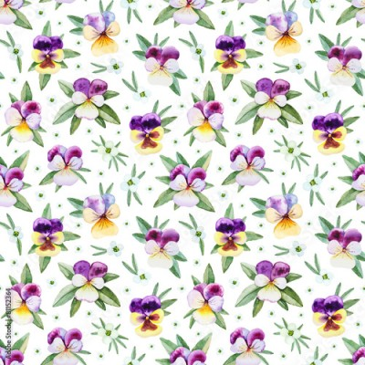 Naklejka Seamless pattern with watercolor illustrations of pansy flowers