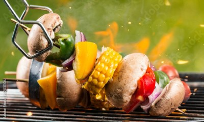 Fototapeta Delicious vegetable and meat skewer on grill