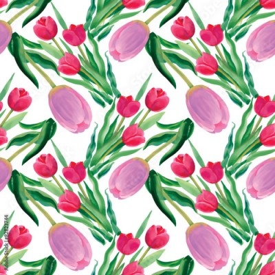 Fototapeta Watercolor illustration of Tulips flowers, seamless pattern