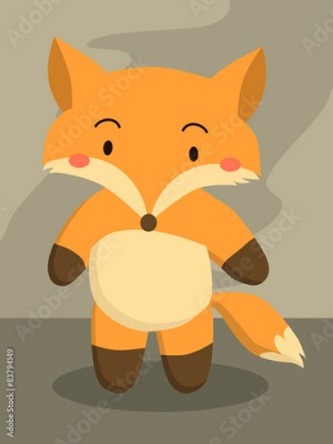 Obraz A little cute red fox cartoon standing in grey background.