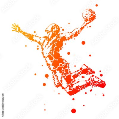 Obraz na płótnie illustration of abstract basketball player in jump