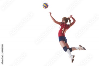 Obraz na płótnie volleyball woman jump and kick ball isolated on white background