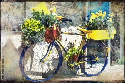 Fototapeta vintage bike decorated with flowers, artistic retro picture