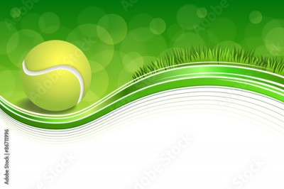 Obraz Background abstract green grass sport white tennis yellow ball frame illustration vector