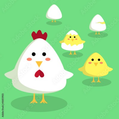 Obraz Editable vector illustration of a cute chicken, chick, and egg in green background.