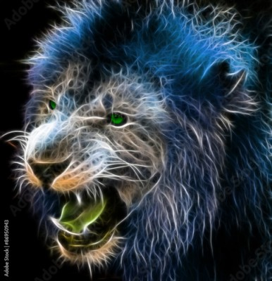 Fototapeta Fractal digital fantasy art of a lion on a isolated background