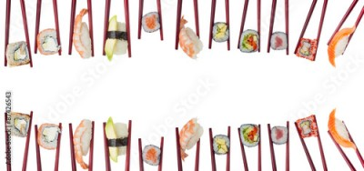 Obraz na płótnie Many different sushi and rolls in chopsticks isolated on white background