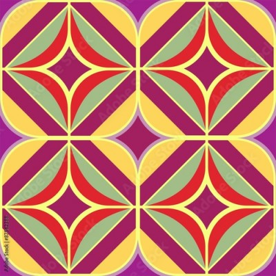 Fototapeta colorful ornament pattern 70 flower power purple yellow tile seamlessly