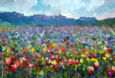 Obraz Oil painting Colorful spring summer rural landscape. Abstract Tulips flowers blossom in the meadow with hill and blue sky color background.