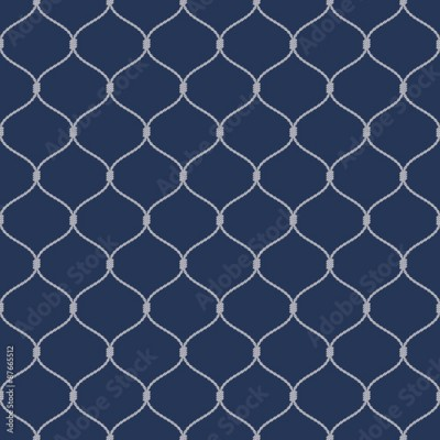 Fototapeta Nautical rope seamless fishnet pattern on dark blue background