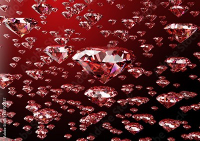 Fototapeta red diamond isolated on white background with clipping path