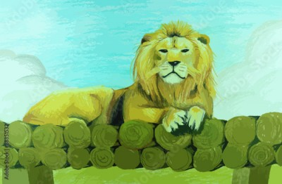 Plakat Lion sitting on pile of wood painting background