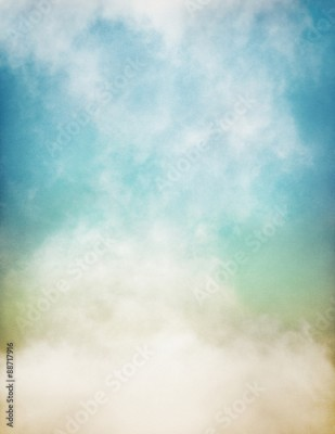 Fototapeta An abstraction of fog and clouds on a textured paper background with a pastel color gradient. Image displays significant paper grain and texture at 100 percent.