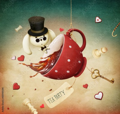 Plakat Illustration of fantasy with red cup of tea and  rabbit