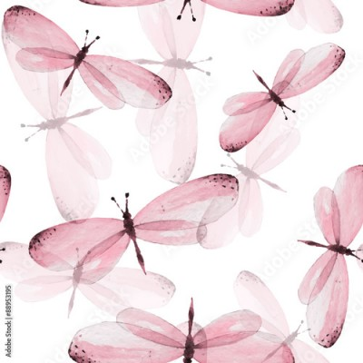 Fototapeta The pattern of butterflies. Seamless vector background. Watercolor illustration 10