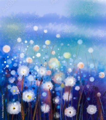 Obraz Abstract oil painting white flowers field in soft color. Oil paintings white dandelion flower in the meadows. Spring floral seasonal nature with blue -green hill in background.