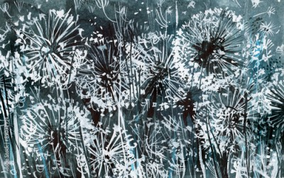 Fototapeta White dandelions on a dark-blue pattern, watercolor illustration, card, abstract background