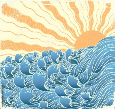 Fototapeta Sea waves. Vectorgrunge illustration of sea landscape with sun