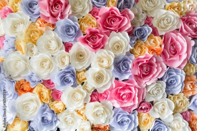 Obraz Backdrop of colorful paper roses