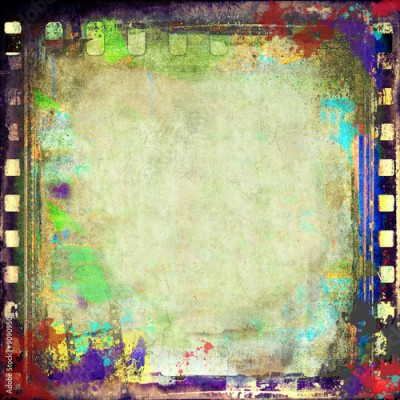 Fototapeta Grunge colorful film strip frame or background