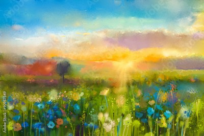 Obraz Oil painting flowers dandelion, cornflower, daisy in fields. Sunset meadow landscape with wildflower, hill and sky in orange and blue color background. Hand Paint summer floral Impressionist style