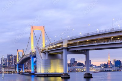 Fototapeta Twilight Tokyo Rainbow bridge in Japan