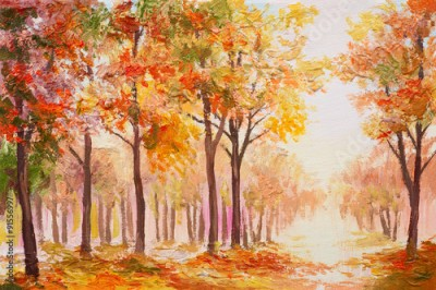 Plakat Oil painting landscape - colorful autumn forest