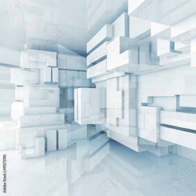 Naklejka 3d blue high-tech background with chaotic cubes